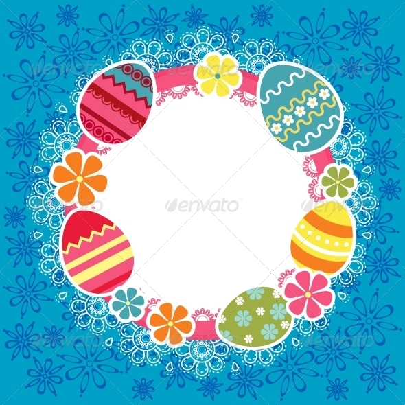 Easter frame with eggs and flowers - Miscellaneous Seasons/Holidays