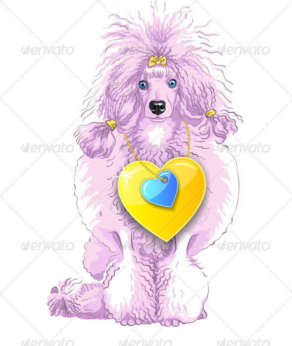 Vector Pink Poodle Dog with Gold Heart - Valentines Seasons/Holidays