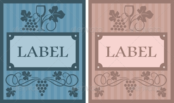 Wine labels in retro style - Backgrounds Decorative