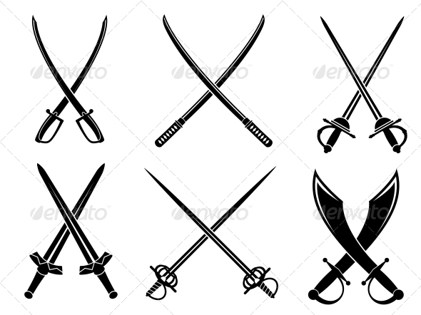 Swords, sabres and longswords set - Decorative Symbols Decorative