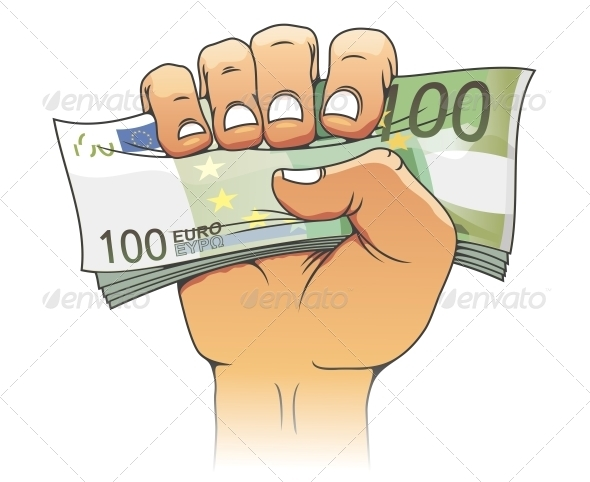 Euro banknote in people hand - Concepts Business