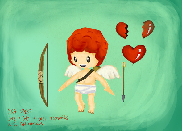 Cupid and Heart set - 3DOcean Item for Sale