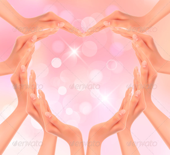 Hands making a heart Valentines day background - Valentines Seasons/Holidays