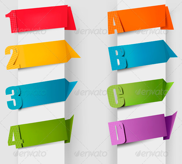 Abstract Origami Speech Bubble with Letters and Numbers - Borders Decorative