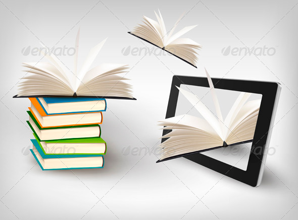 Books Flying in a Tablet  Vector Illustration - Technology Conceptual