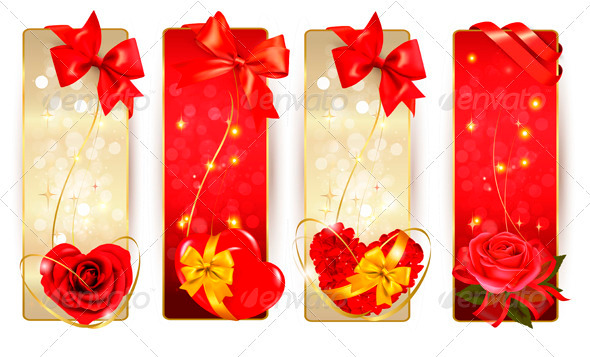 Set of Beautiful Cards with Red Gift Bows - Valentines Seasons/Holidays