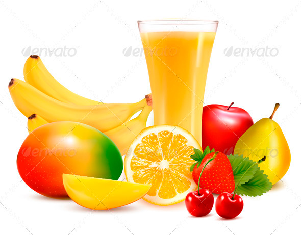 Fresh Color Fruit and Juice - Food Objects