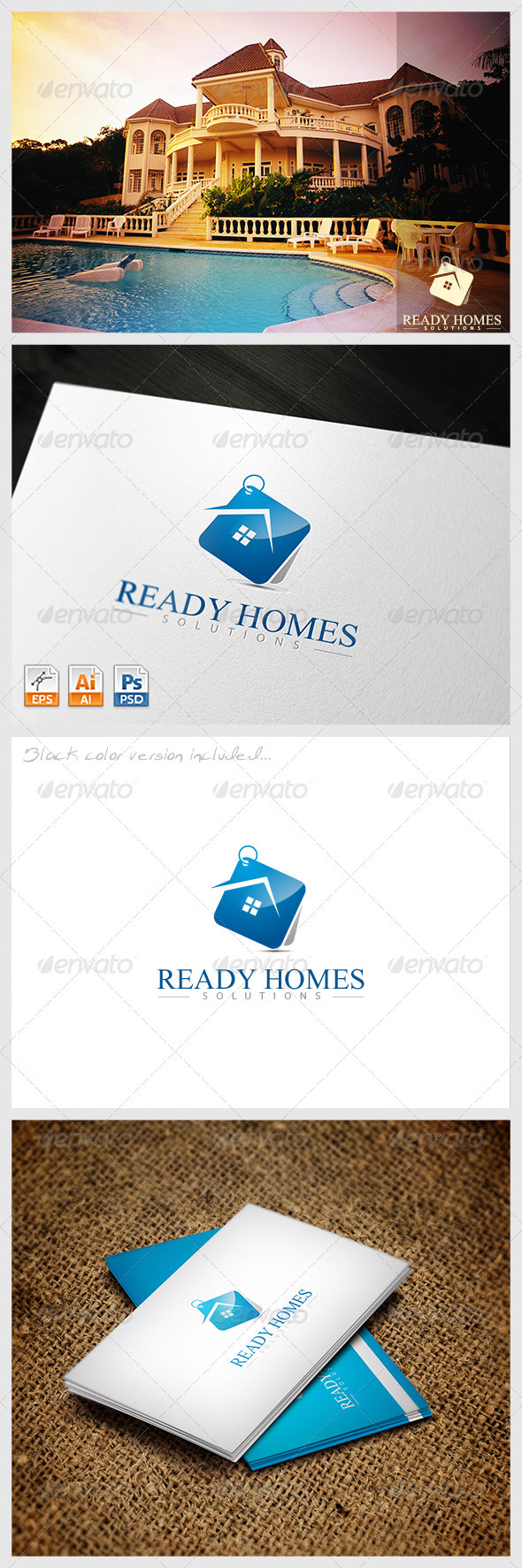 Ready Homes Solutions Logo - Buildings Logo Templates