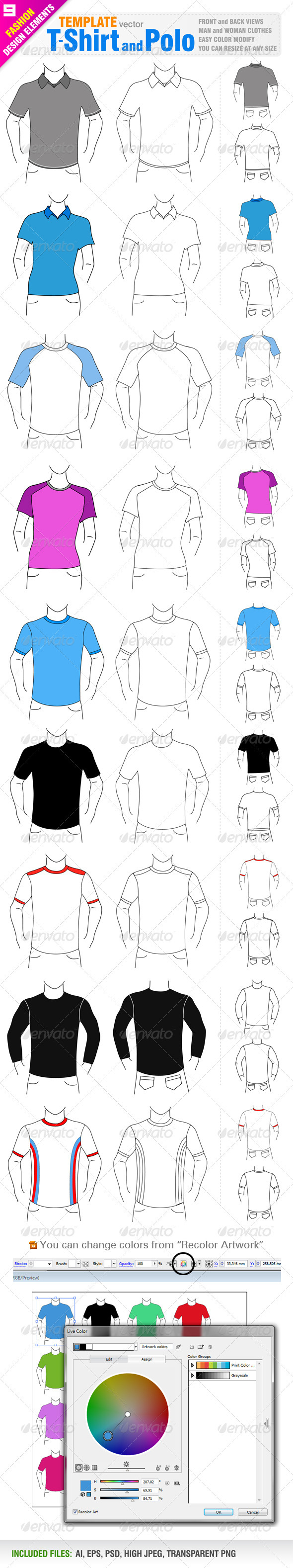 T-shirt and Polo Templates - Man-made Objects Objects