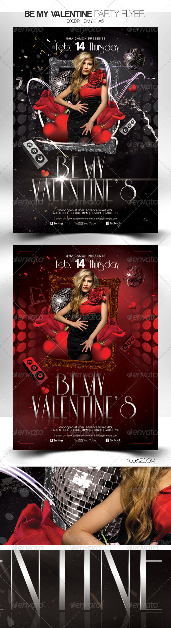 Be My Valentine Party Flyer - Clubs & Parties Events