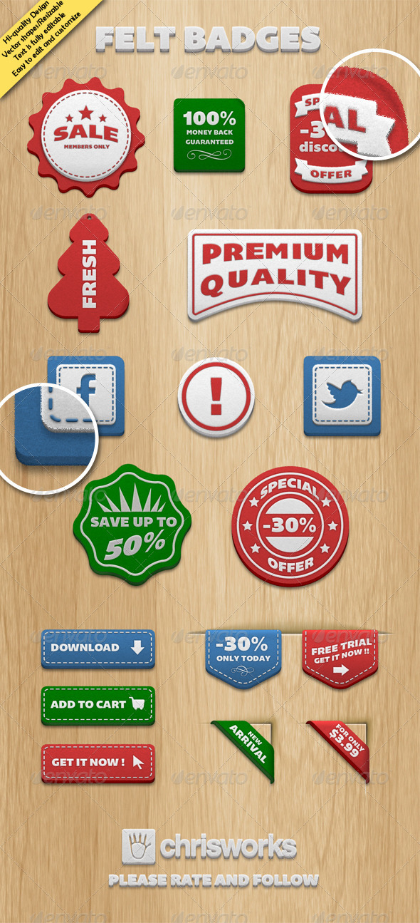 Felt Badges - Badges & Stickers Web Elements