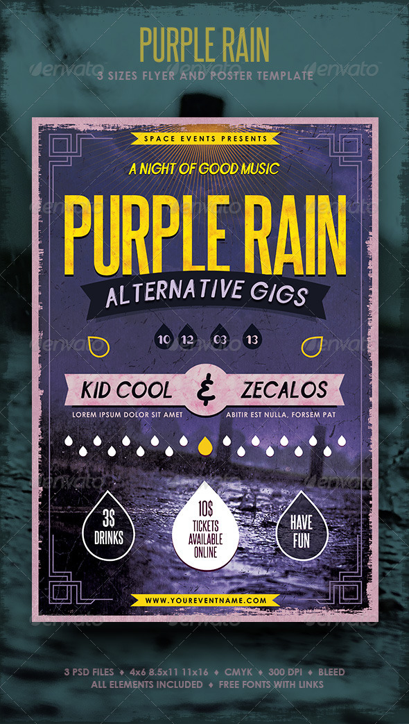Purple Rain Poster and Flyer - Concerts Events