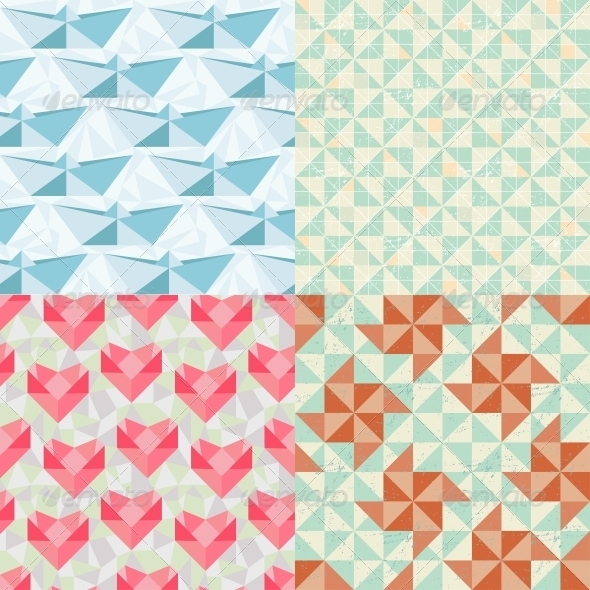 Seamless Geometric Patterns with Origami Elements. - Patterns Decorative