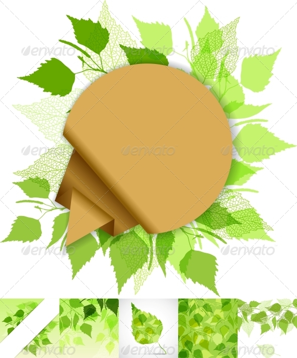 Fresh Background of Green Birch Leaves. - Backgrounds Decorative