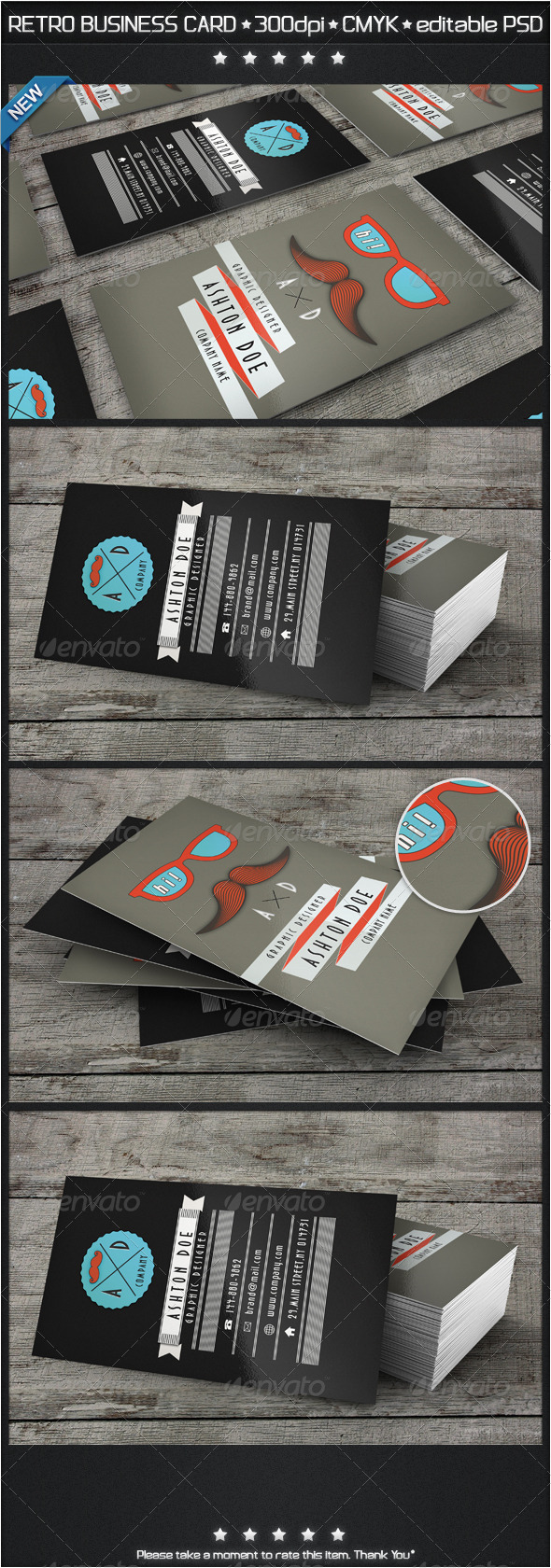 Retro Mustache Business Card - Creative Business Cards