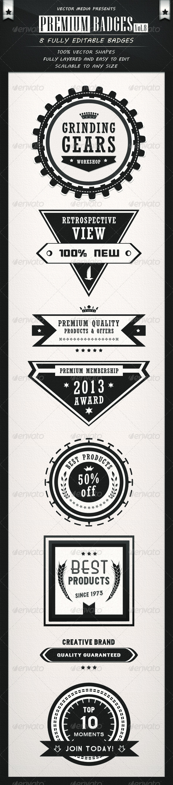 Premium Badges - Vol.8 - Badges & Stickers Web Elements
