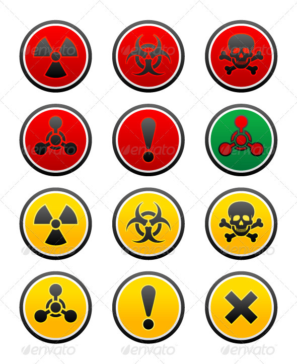 Symbols of Hazard on the Round Buttons - Decorative Symbols Decorative