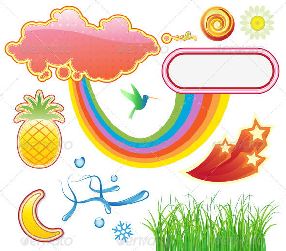 Summer Design Elements - Decorative Symbols Decorative