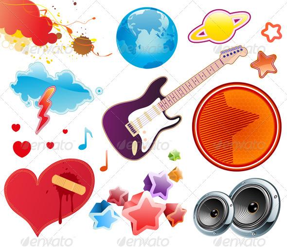 Summer Music Design Elements - Decorative Symbols Decorative