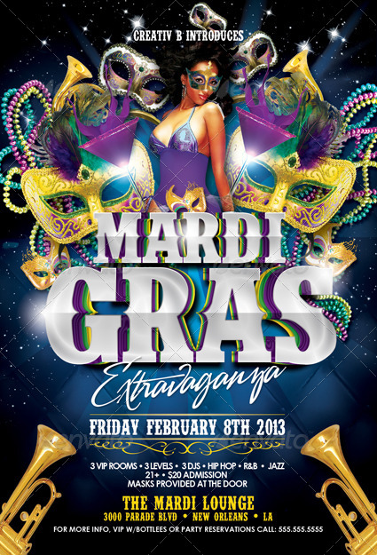 Mardi Gras Party Flyer Template by CreativB – Mardi Gras Party Invitations Templates
