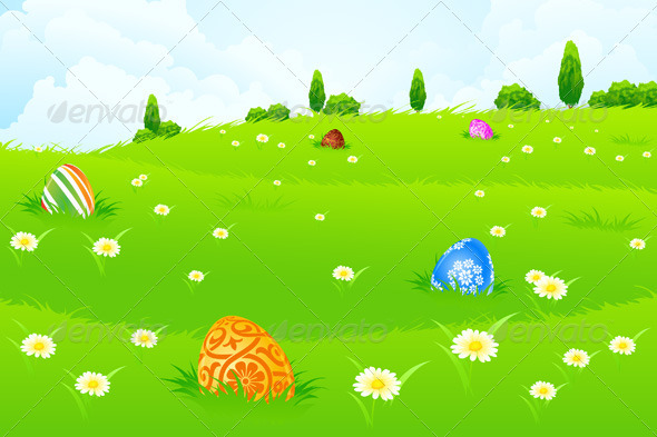 green landscape background with easter eggs by vvad graphicriver