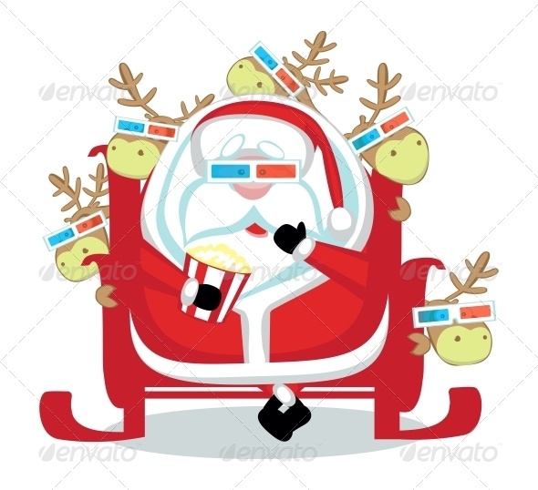 Santa with reindeers in 3d glasses watching  movie - People Characters