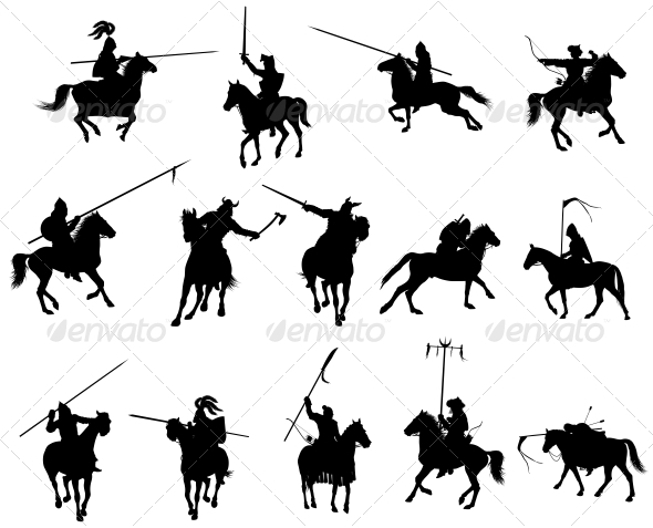 Vector Horsemen Set - People Characters