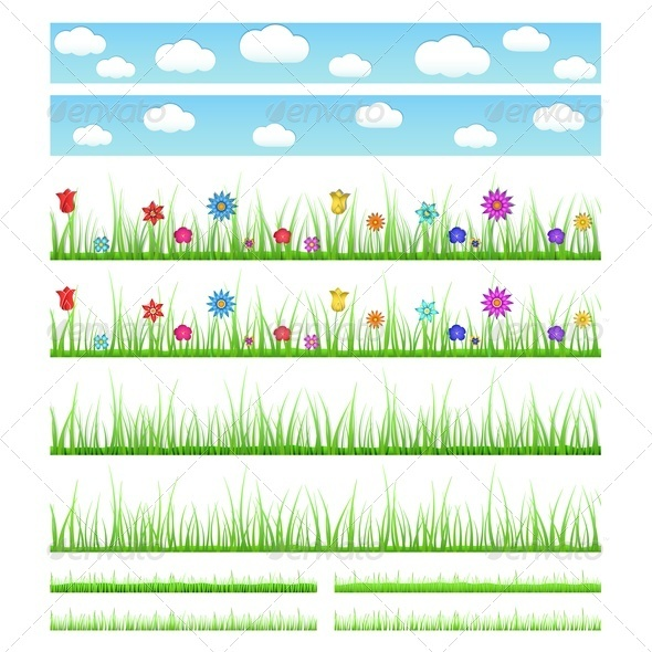 Set of Seamless Grass with Flowers - Flowers & Plants Nature