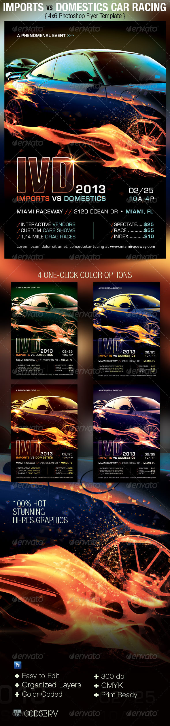 Car Racing Flyer Template   Sports Events  Car Flyer Template