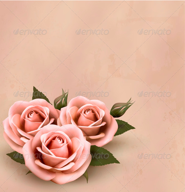 Retro background with beautiful pink roses - Flowers & Plants Nature
