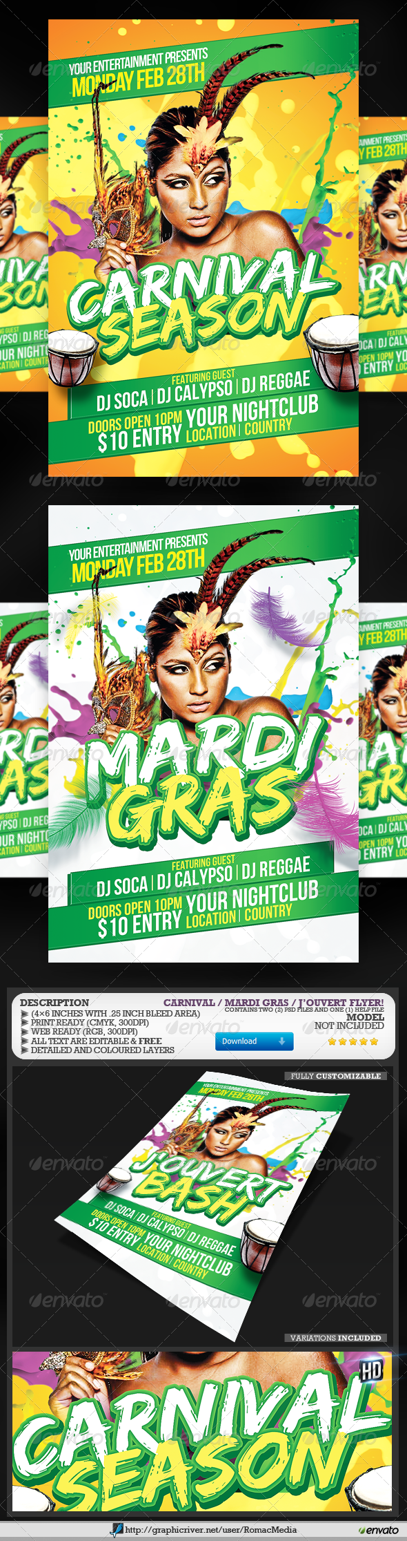 Carnival and Mardi Gras Flyer - Events Flyers