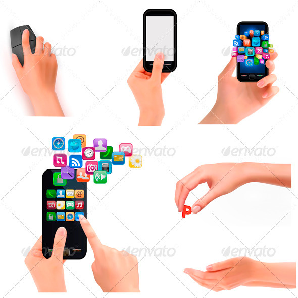 Collection of Hands Holding Business Objects. - Concepts Business