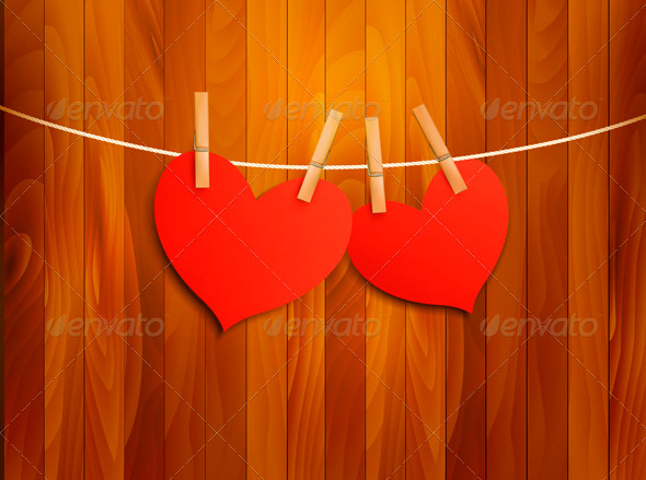Two Red Loving Hearts Hanging on a Rope - Valentines Seasons/Holidays