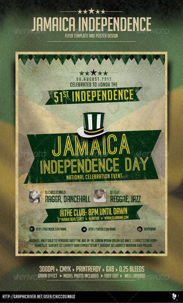Jamaica Independence Day Flyer By Chiccosinalo  Graphicriver