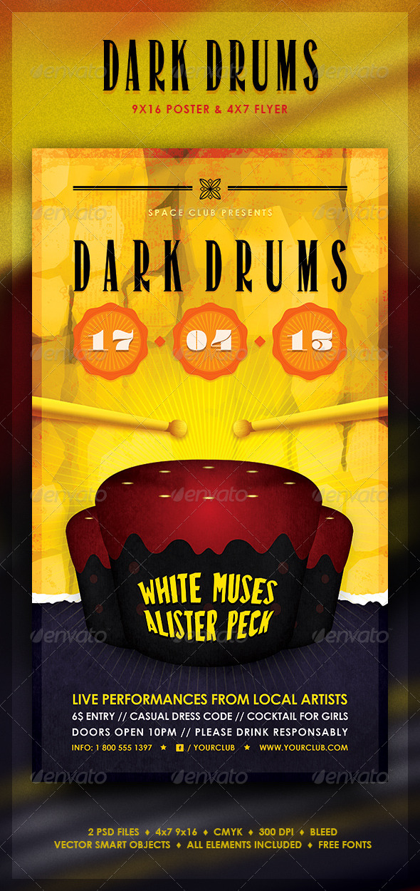 Dark Drums Poster and Flyer - Concerts Events