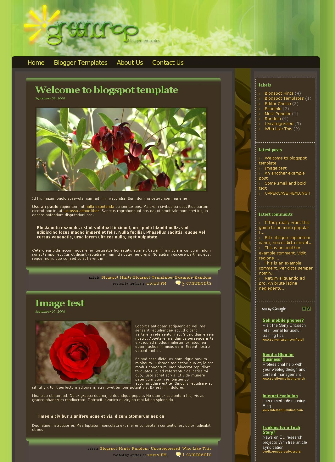 Free Download Greencrop Blogger Templates Nulled Latest Version