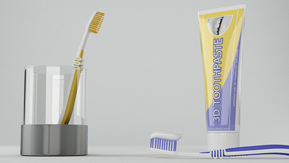 Toothbrush And ToothPaste Packshot - 3DOcean Item for Sale