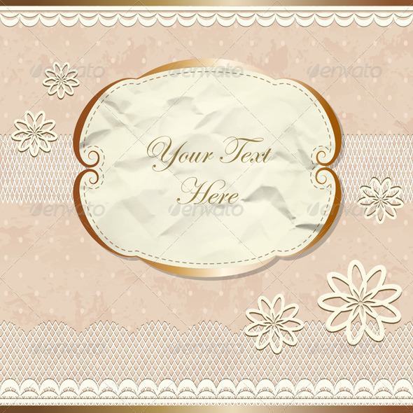 Lacy Vintage Border With Flowers - Backgrounds Decorative