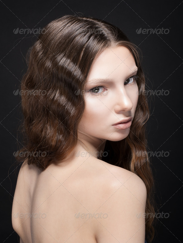 beautiful young face - Stock Photo - Images