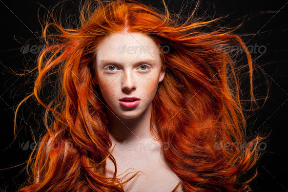 Wavy Red Hair - Stock Photo - Images