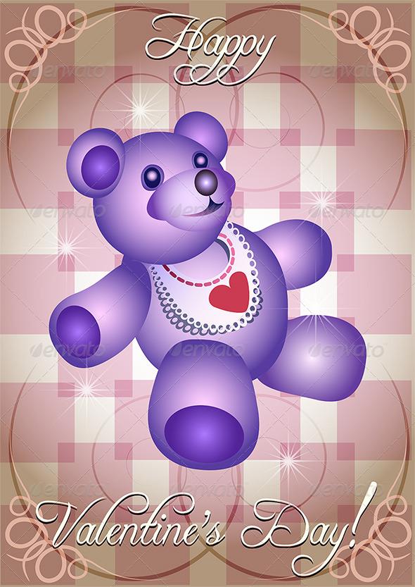 Greeting Card with Blue Teddy Bear - Valentines Seasons/Holidays