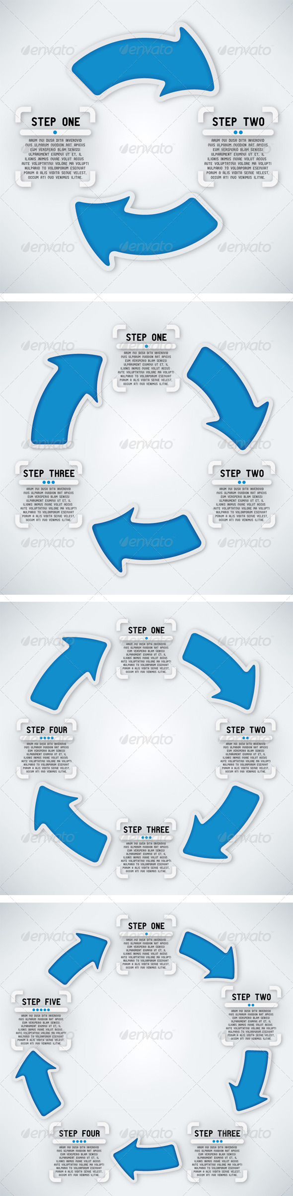 Circular Arrows Two, Three, Four and Five Steps - Concepts Business