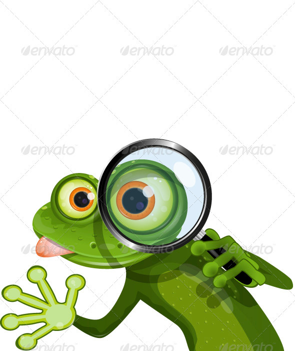 Frog and Magnifying Glass - Animals Characters