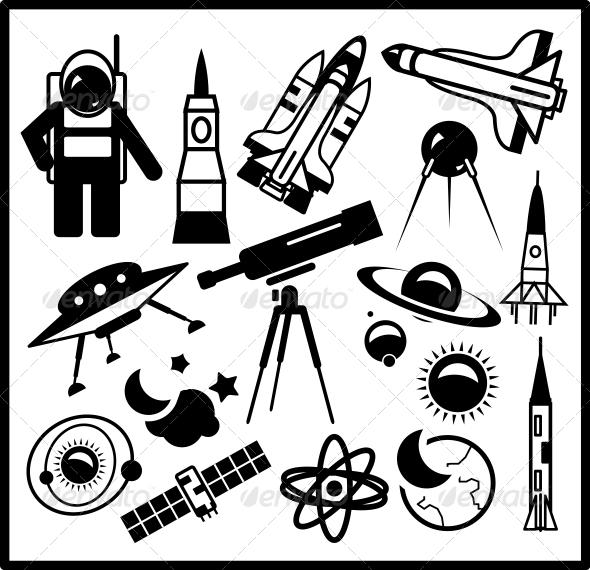 Set of Black Space Icons - Web Elements Vectors