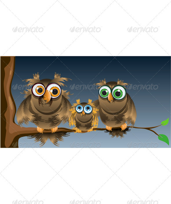 Family Owls - Animals Characters