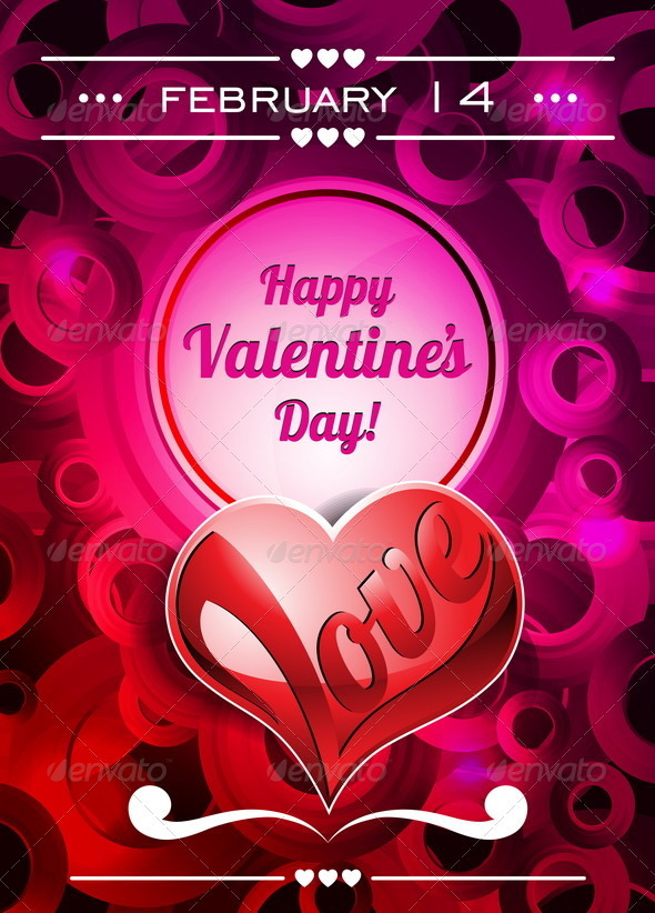 Valentines Day Illustration with Text Space - Valentines Seasons/Holidays