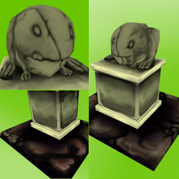 Low Poly Frog Statue - 3DOcean Item for Sale