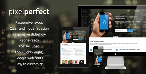 PixelPerfect - Responsive Landing Page - Apps Technology