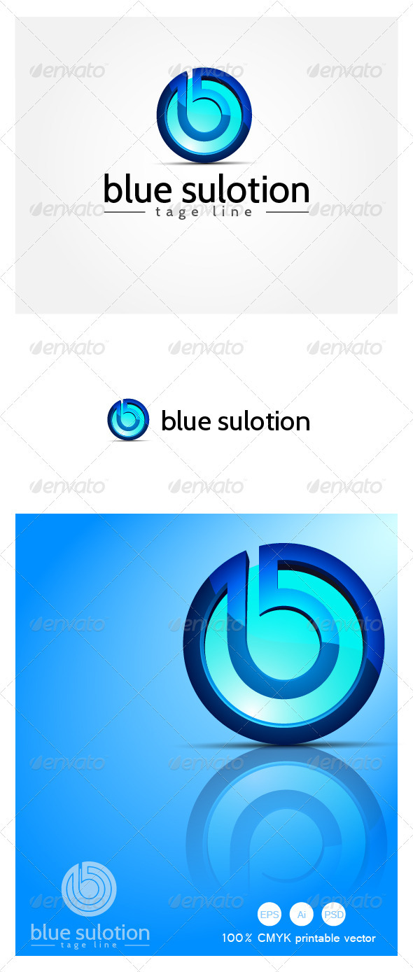 Blue Solution - 3D Logo  - Letters Logo Templates