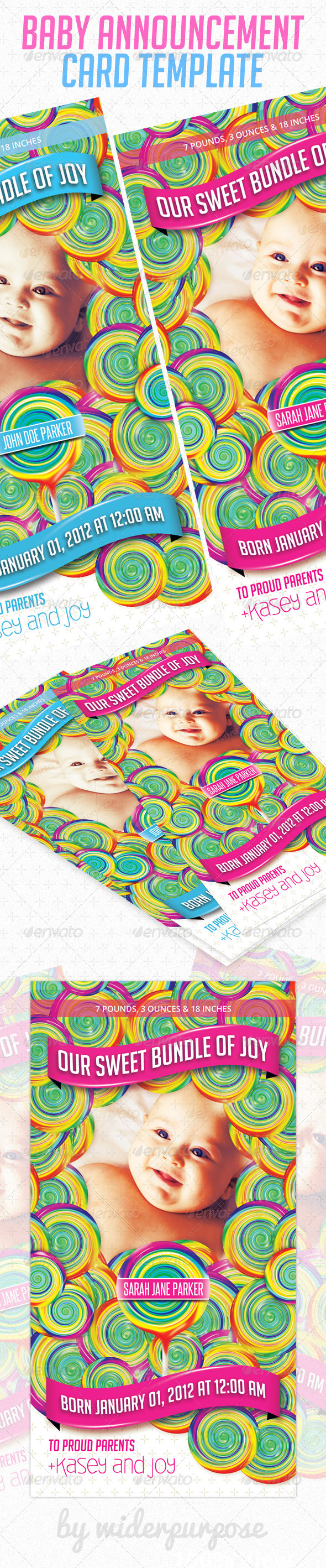 Baby Announcement Card PSD Template - Cards & Invites Print Templates